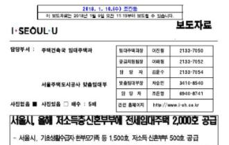 서울시, 올해 저소득층‧신혼부부에 전세임대주택 2,000호 공급