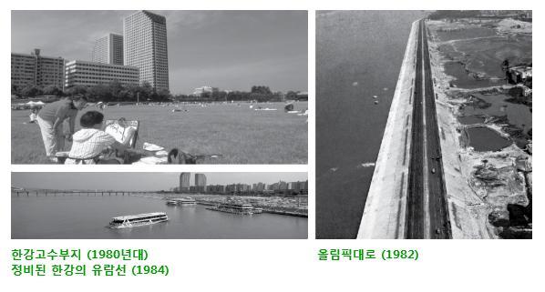 한강고수부지 (1980년대), 정비된 한강의 유람선 (1984), 올림픽대로 (1982)