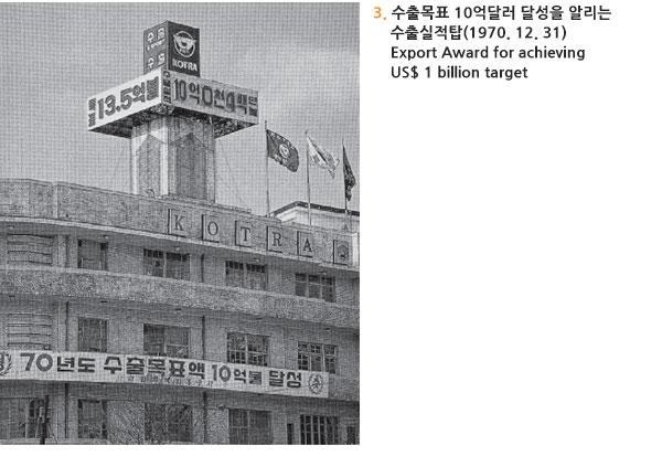 수출목표 10억달러 달성을 알리는 수출실적탑(1970. 12. 31) Export Award for achieving US$ 1 billion target