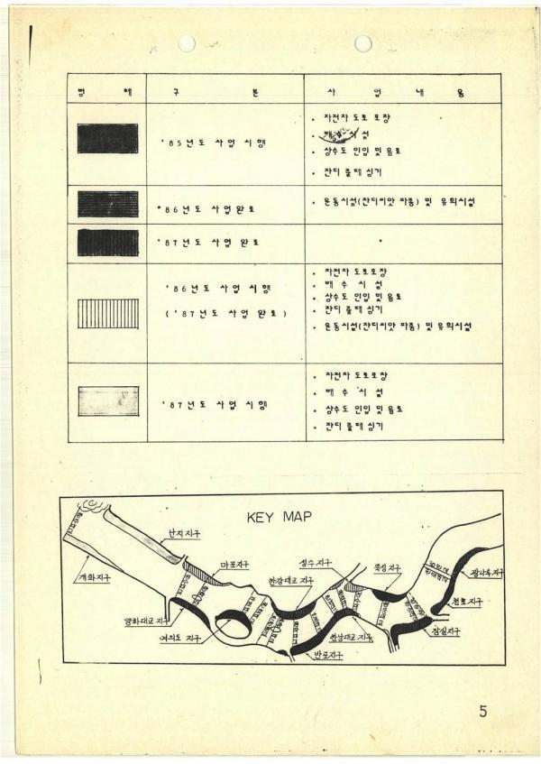(1985-08-19)한강고수부지조성사업 시행계획 중 연차별 추진계획도