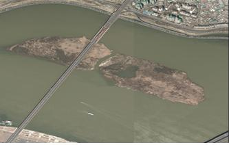 2012년 밤섬과 서강대교 일대 항공사진